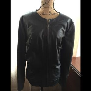 Lafayette 148 New York Leather Jacket-Size 18